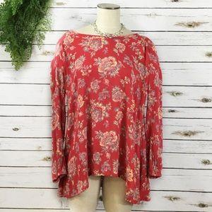 Billabong red floral flowy rayon tunic shirt S
